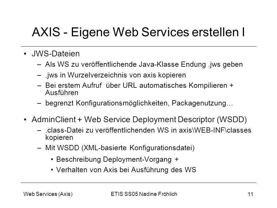 ETIS SS05 Nadine FröhlichWeb Services (Axis) 11 AXIS - Eigene Web Services erstellen I JWS-Dateien –Als WS zu veröffentlichende Java-Klasse Endung.jws