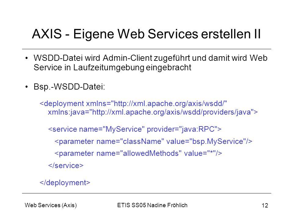 ETIS SS05 Nadine FröhlichWeb Services (Axis) 12 AXIS - Eigene Web Services erstellen II WSDD-Datei wird Admin-Client zugeführt und damit wird Web Serv