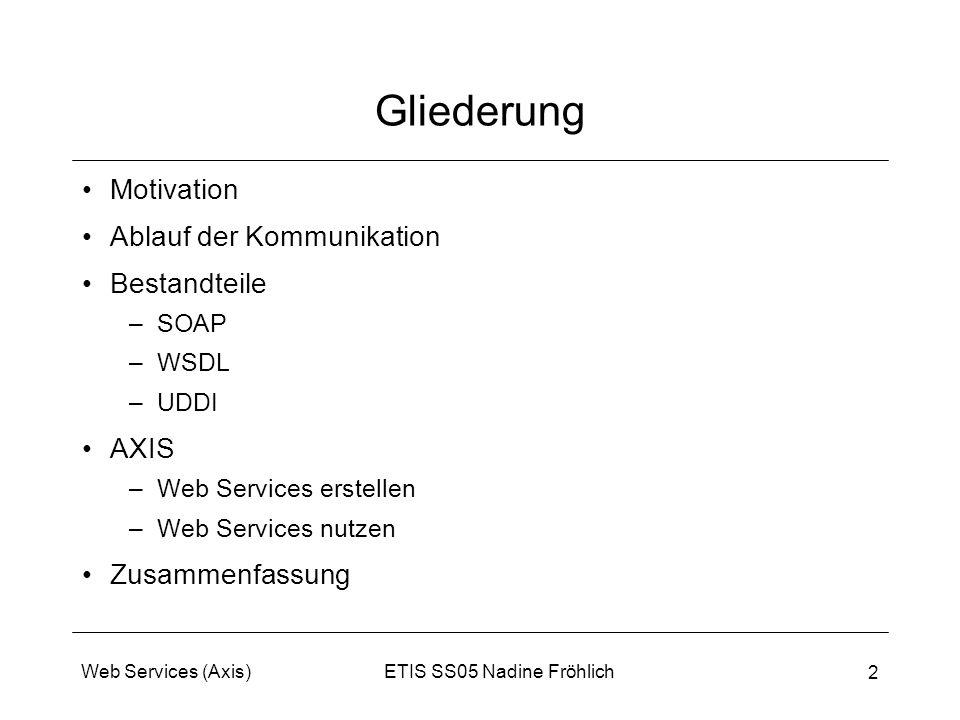 ETIS SS05 Nadine FröhlichWeb Services (Axis) 2 Gliederung Motivation Ablauf der Kommunikation Bestandteile –SOAP –WSDL –UDDI AXIS –Web Services erstel