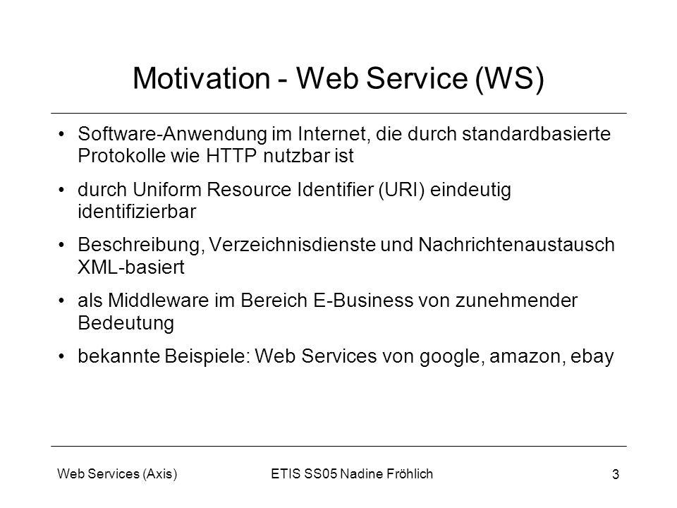ETIS SS05 Nadine FröhlichWeb Services (Axis) 3 Motivation - Web Service (WS) Software-Anwendung im Internet, die durch standardbasierte Protokolle wie