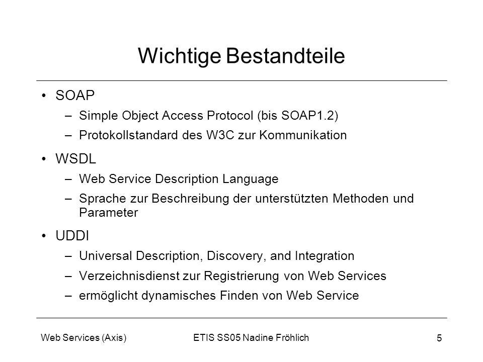 ETIS SS05 Nadine FröhlichWeb Services (Axis) 5 Wichtige Bestandteile SOAP –Simple Object Access Protocol (bis SOAP1.2) –Protokollstandard des W3C zur