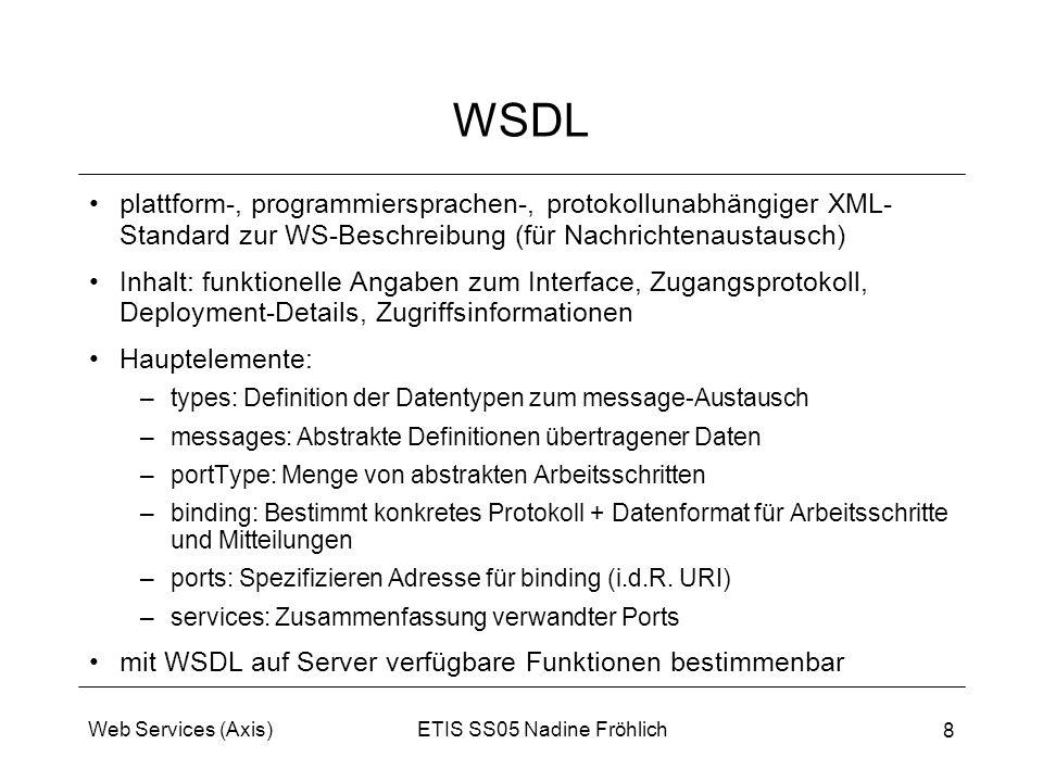 ETIS SS05 Nadine FröhlichWeb Services (Axis) 8 WSDL plattform-, programmiersprachen-, protokollunabhängiger XML- Standard zur WS-Beschreibung (für Nac
