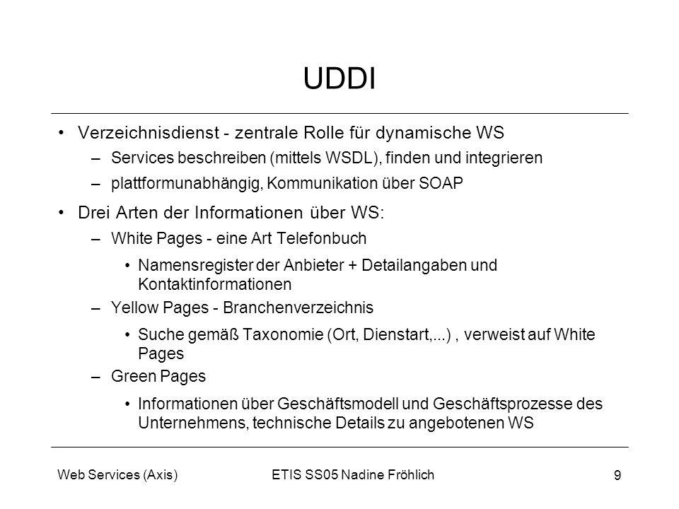 ETIS SS05 Nadine FröhlichWeb Services (Axis) 9 UDDI Verzeichnisdienst - zentrale Rolle für dynamische WS –Services beschreiben (mittels WSDL), finden
