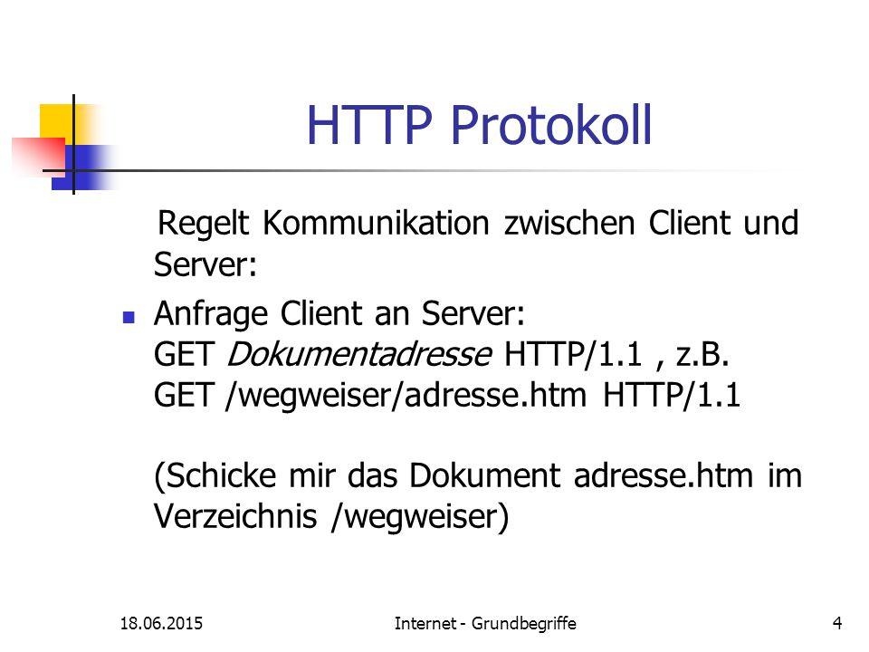 18.06.2015Internet - Grundbegriffe4 HTTP Protokoll Regelt Kommunikation zwischen Client und Server: Anfrage Client an Server: GET Dokumentadresse HTTP