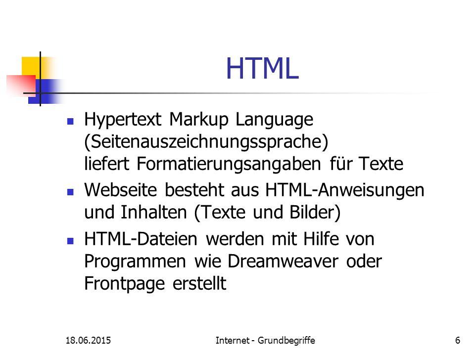18.06.2015Internet - Grundbegriffe6 HTML Hypertext Markup Language (Seitenauszeichnungssprache) liefert Formatierungsangaben für Texte Webseite besteh