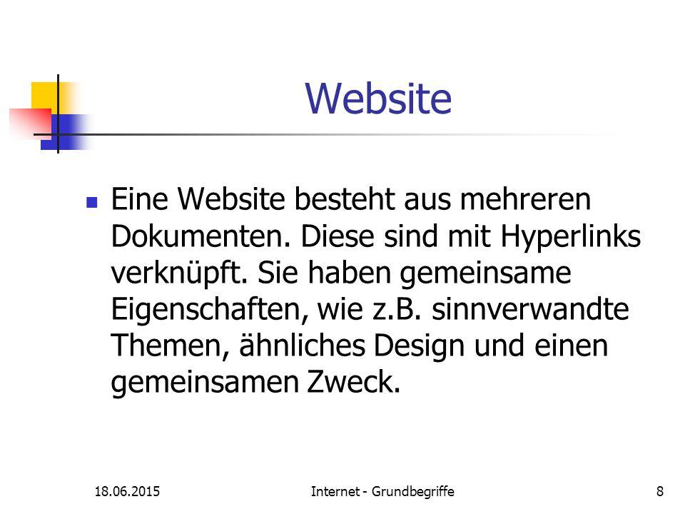 18.06.2015Internet - Grundbegriffe8 Website Eine Website besteht aus mehreren Dokumenten. Diese sind mit Hyperlinks verknüpft. Sie haben gemeinsame Ei