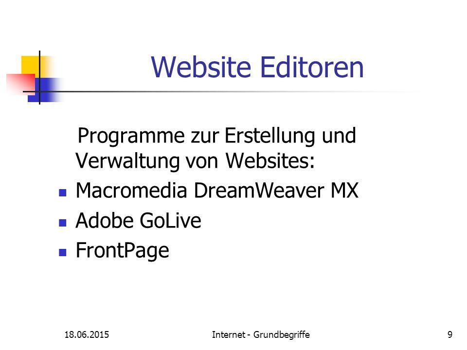 18.06.2015Internet - Grundbegriffe9 Website Editoren Programme zur Erstellung und Verwaltung von Websites: Macromedia DreamWeaver MX Adobe GoLive Fron