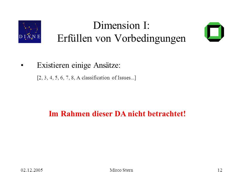 02.12.2005Mirco Stern12 Dimension I: Erfüllen von Vorbedingungen Existieren einige Ansätze: [2, 3, 4, 5, 6, 7, 8, A classification of Issues...] Im Rahmen dieser DA nicht betrachtet!
