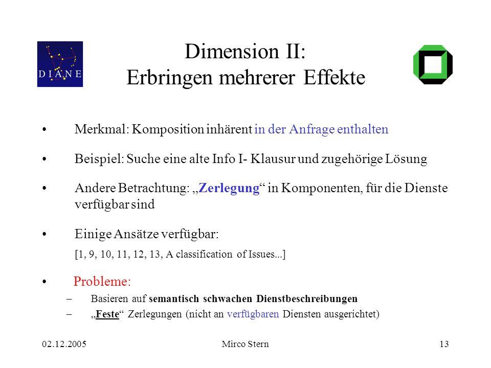 02.12.2005Mirco Stern13 Dimension II: Erbringen mehrerer Effekte Merkmal: Komposition inhärent in der Anfrage enthalten Beispiel: Suche eine alte Info