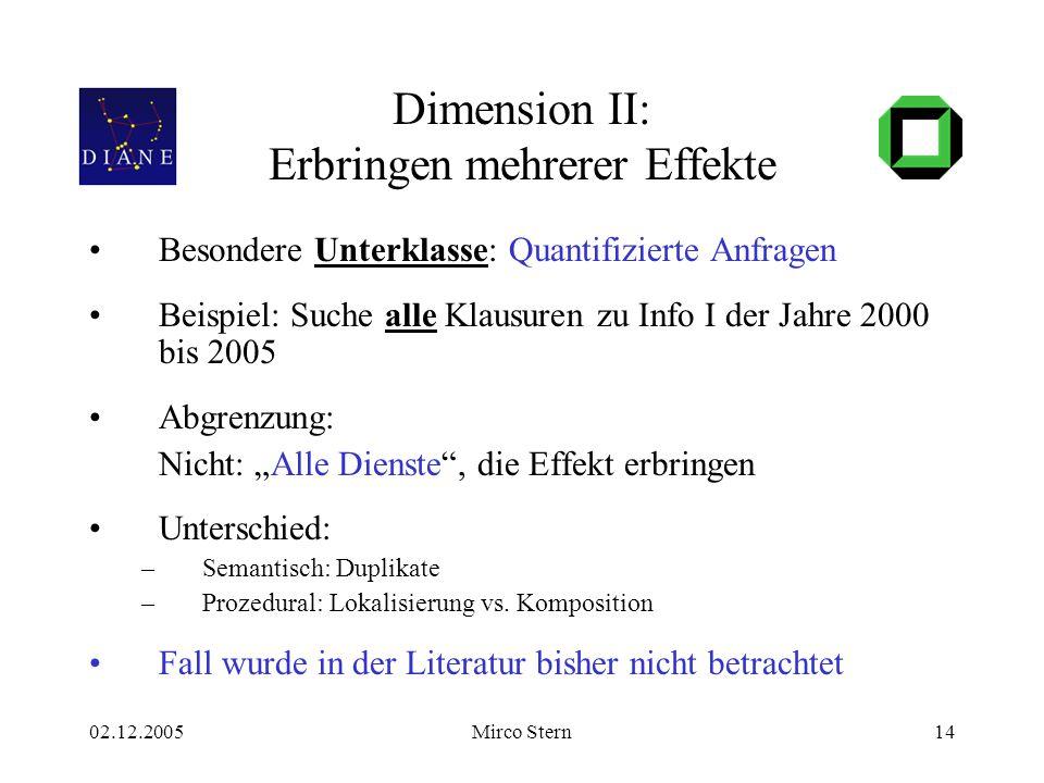 02.12.2005Mirco Stern14 Dimension II: Erbringen mehrerer Effekte Besondere Unterklasse: Quantifizierte Anfragen Beispiel: Suche alle Klausuren zu Info