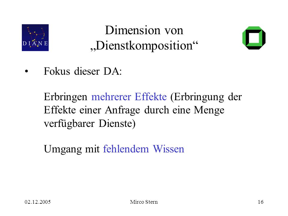 """02.12.2005Mirco Stern16 Dimension von """"Dienstkomposition Fokus dieser DA: Erbringen mehrerer Effekte (Erbringung der Effekte einer Anfrage durch eine Menge verfügbarer Dienste) Umgang mit fehlendem Wissen"""