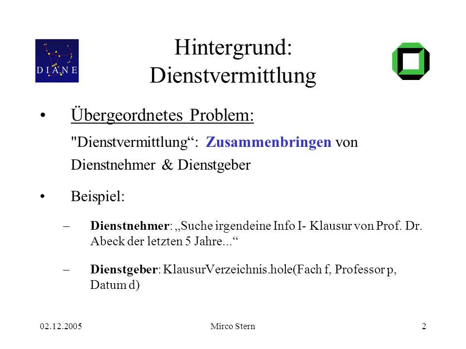 02.12.2005Mirco Stern2 Hintergrund: Dienstvermittlung Übergeordnetes Problem: