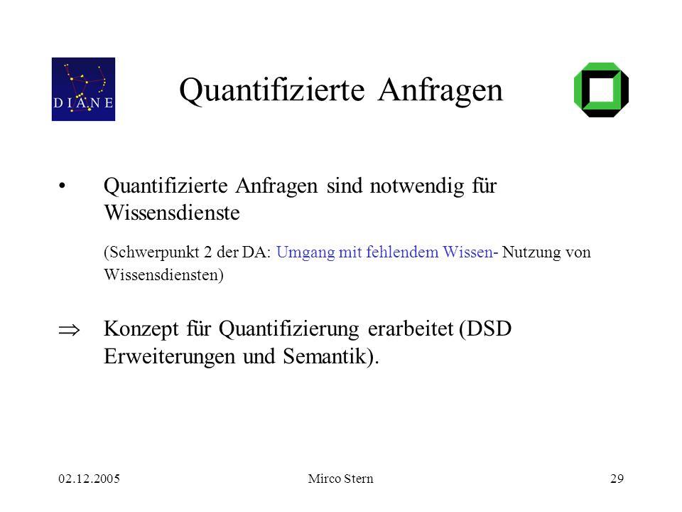 02.12.2005Mirco Stern29 Quantifizierte Anfragen Quantifizierte Anfragen sind notwendig für Wissensdienste (Schwerpunkt 2 der DA: Umgang mit fehlendem Wissen- Nutzung von Wissensdiensten)  Konzept für Quantifizierung erarbeitet (DSD Erweiterungen und Semantik).