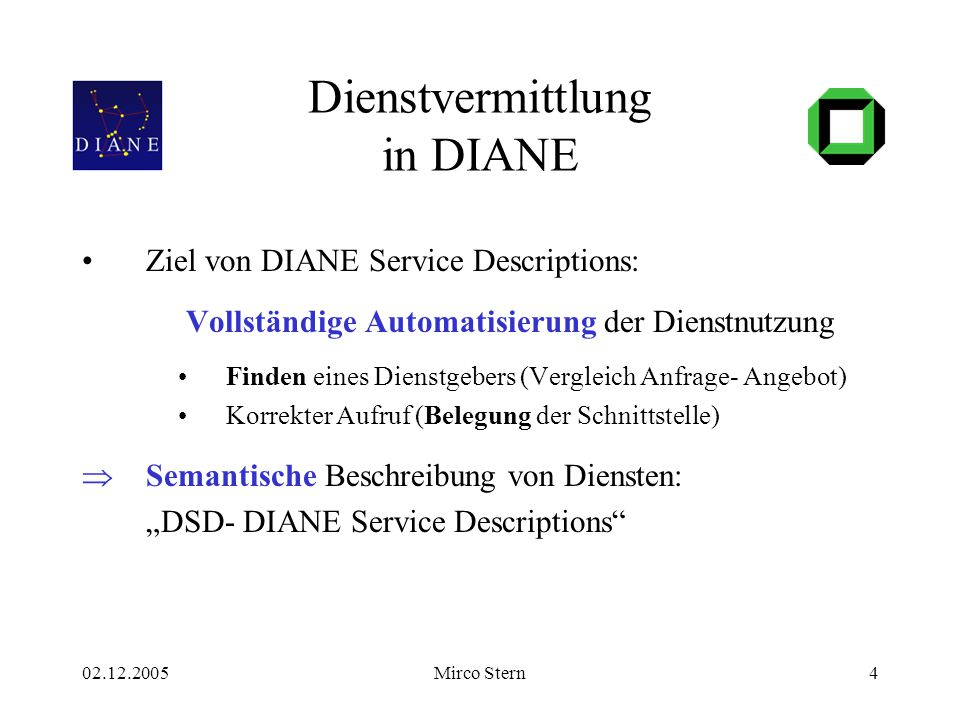 02.12.2005Mirco Stern4 Dienstvermittlung in DIANE Ziel von DIANE Service Descriptions: Vollständige Automatisierung der Dienstnutzung Finden eines Die