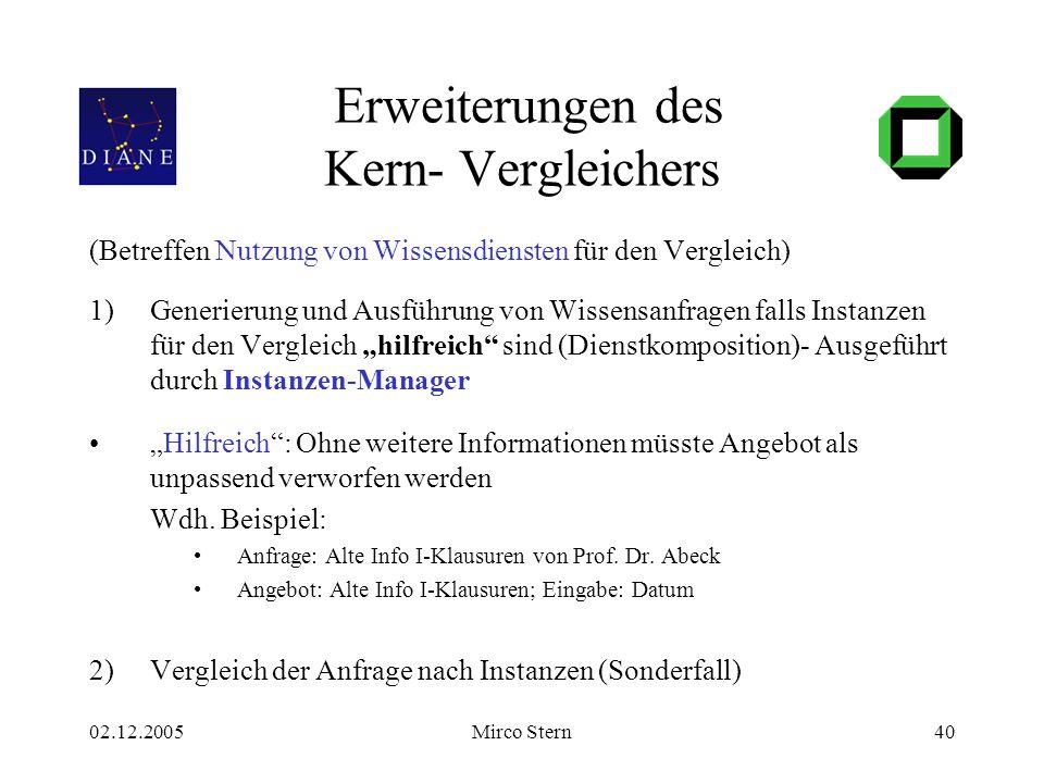 02.12.2005Mirco Stern40 Erweiterungen des Kern- Vergleichers (Betreffen Nutzung von Wissensdiensten für den Vergleich) 1)Generierung und Ausführung vo