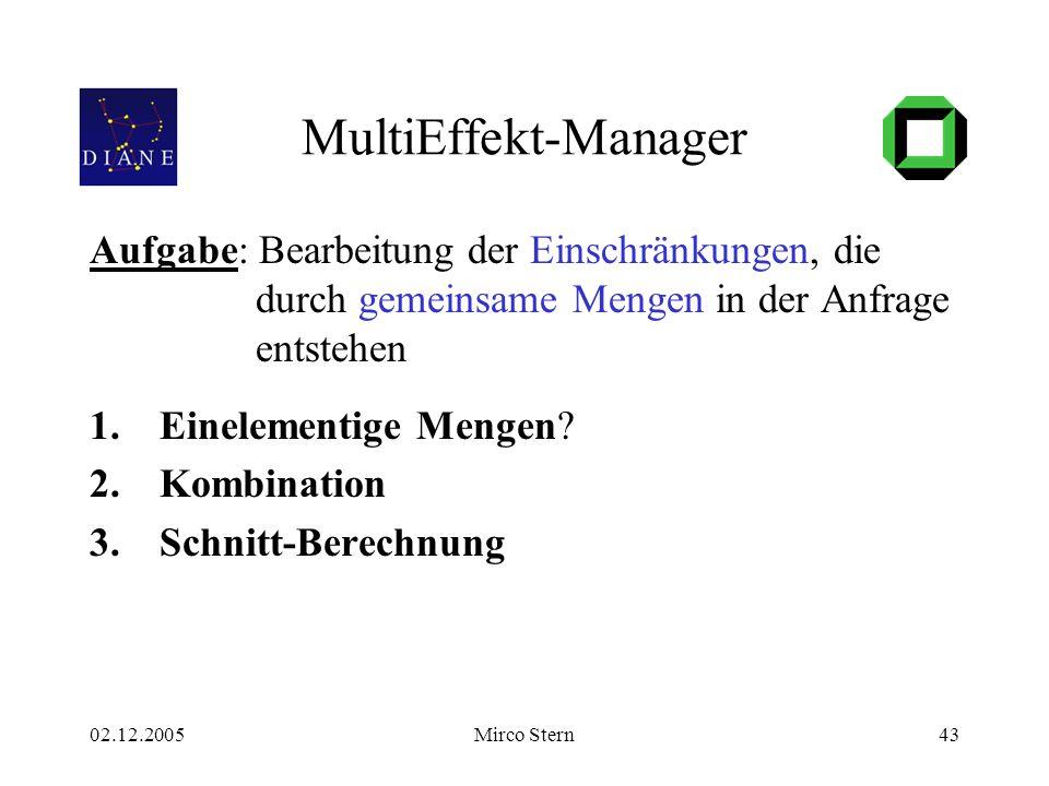 02.12.2005Mirco Stern43 MultiEffekt-Manager Aufgabe: Bearbeitung der Einschränkungen, die durch gemeinsame Mengen in der Anfrage entstehen 1.Einelementige Mengen.