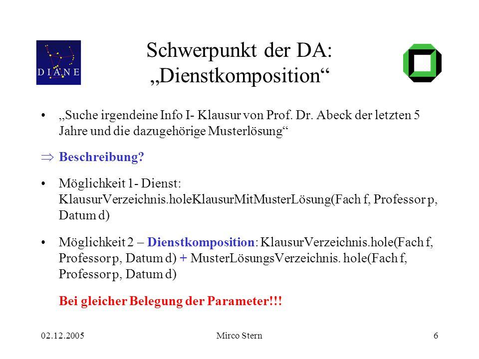 """02.12.2005Mirco Stern6 Schwerpunkt der DA: """"Dienstkomposition"""" """"Suche irgendeine Info I- Klausur von Prof. Dr. Abeck der letzten 5 Jahre und die dazug"""