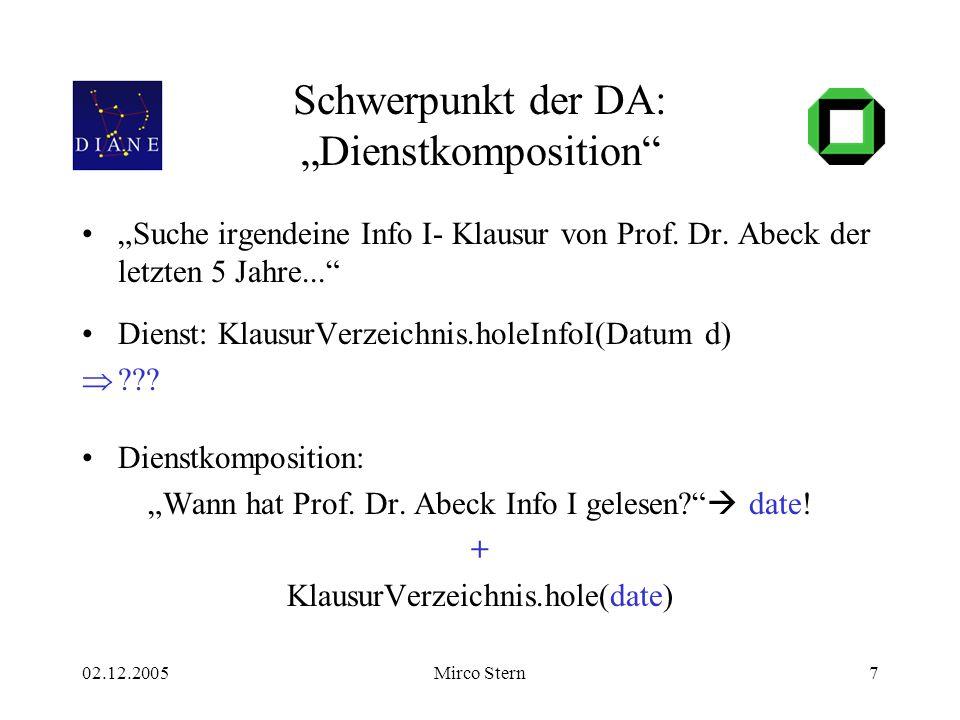 """02.12.2005Mirco Stern7 Schwerpunkt der DA: """"Dienstkomposition"""" """"Suche irgendeine Info I- Klausur von Prof. Dr. Abeck der letzten 5 Jahre..."""" Dienst: K"""