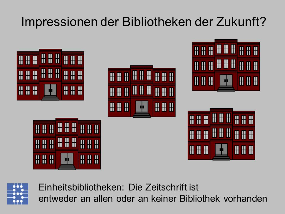 Impressionen der Bibliotheken der Zukunft? Einheitsbibliotheken: Die Zeitschrift ist entweder an allen oder an keiner Bibliothek vorhanden