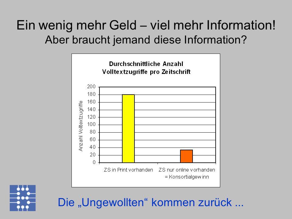 """Die """"Ungewollten"""" kommen zurück... Ein wenig mehr Geld – viel mehr Information! Aber braucht jemand diese Information?"""