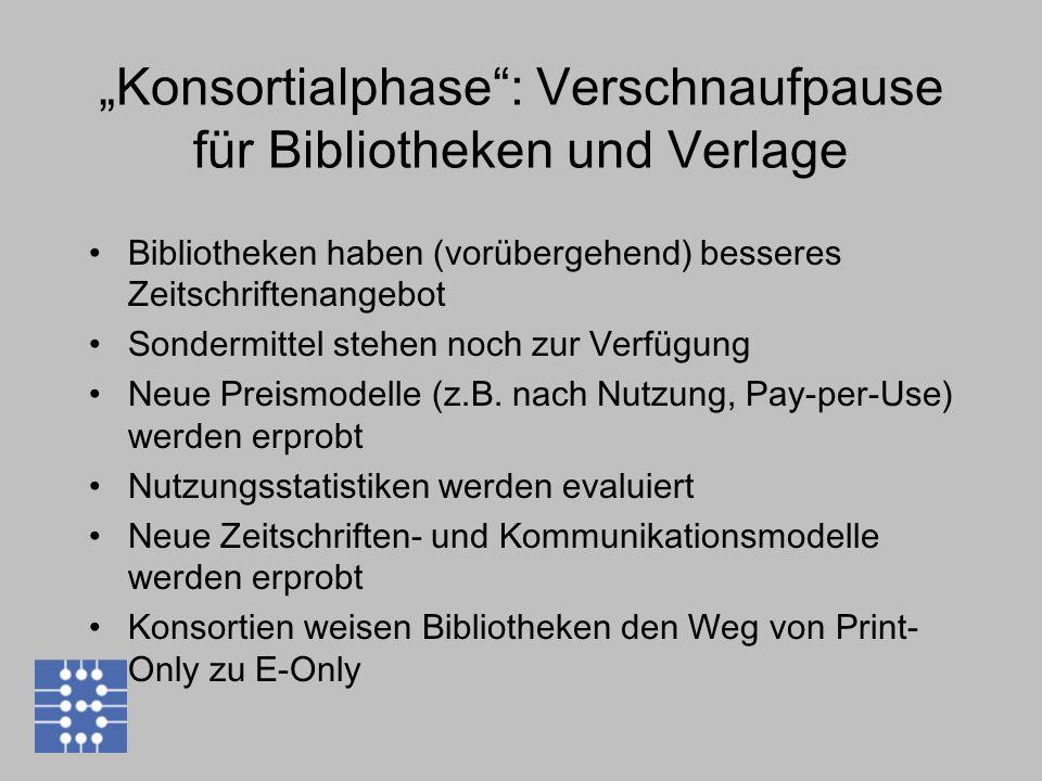 """""""Konsortialphase : Verschnaufpause für Bibliotheken und Verlage Bibliotheken haben (vorübergehend) besseres Zeitschriftenangebot Sondermittel stehen noch zur Verfügung Neue Preismodelle (z.B."""