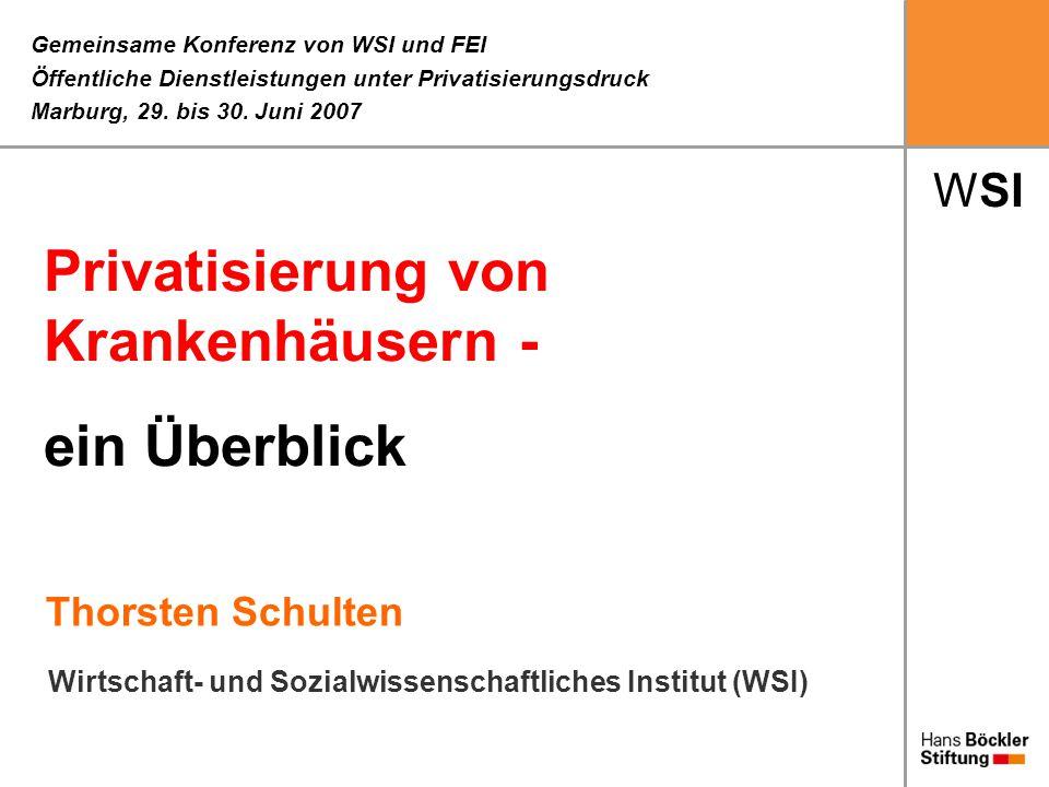WSI Thorsten Schulten Gemeinsame Konferenz von WSI und FEI Öffentliche Dienstleistungen unter Privatisierungsdruck Marburg, 29. bis 30. Juni 2007 Wirt