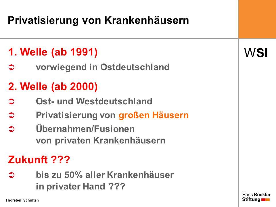 WSI Thorsten Schulten Privatisierung von Krankenhäusern 1. Welle (ab 1991)  vorwiegend in Ostdeutschland 2. Welle (ab 2000)  Ost- und Westdeutschlan