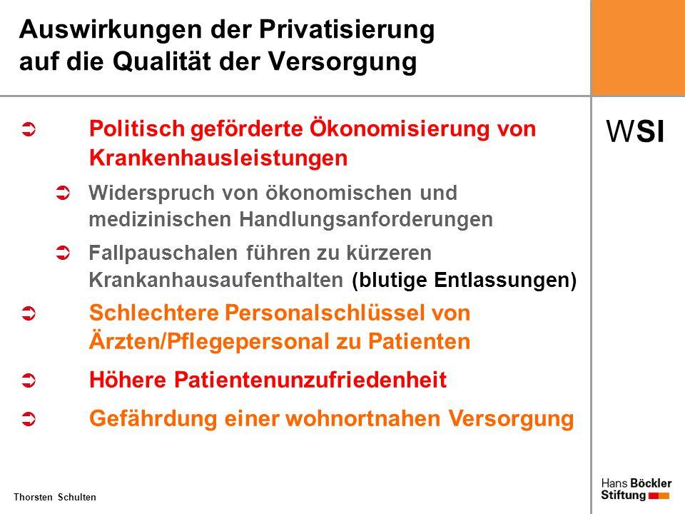 WSI Thorsten Schulten Auswirkungen der Privatisierung auf die Qualität der Versorgung  Politisch geförderte Ökonomisierung von Krankenhausleistungen