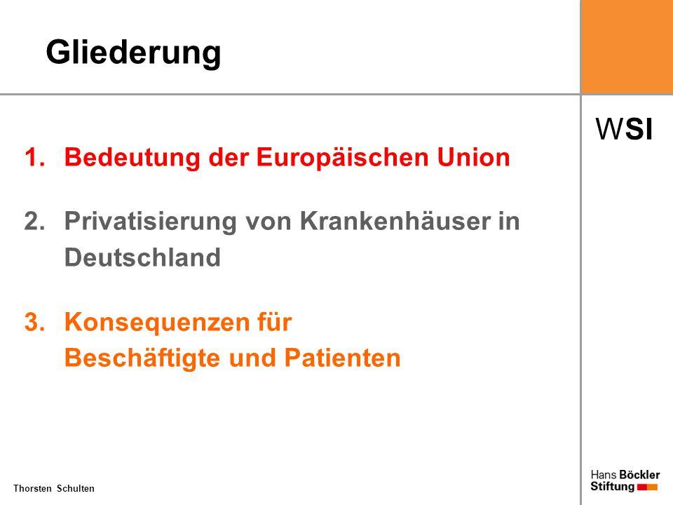 """WSI Thorsten Schulten Einfluss der Europäischen Union Keine explizite Kompetenz der EU im Hinblick auf die Krakenhausversorgung: """"Bei der Tätigkeit der Gemeinschaft im Bereich der Gesundheit der Bevölkerung wird die Verantwortung der Mitgliedstaaten für die Organisation des Gesundheitswesens und die medizinische Versorgung in vollem Umfang gewahrt. EG-Vertrag Artikel 152 (5)"""