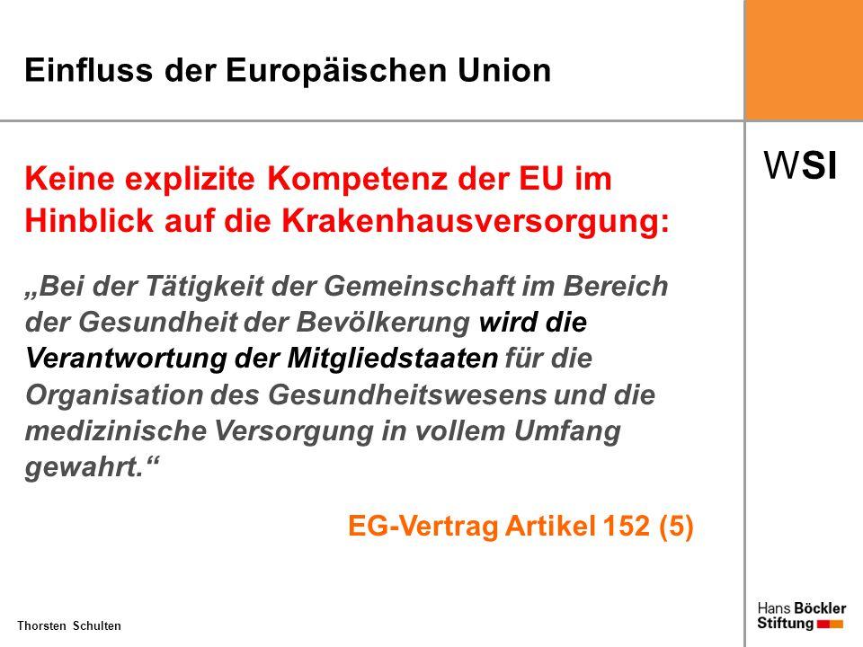 """WSI Thorsten Schulten Einfluss der Europäischen Union Keine explizite Kompetenz der EU im Hinblick auf die Krakenhausversorgung: """"Bei der Tätigkeit de"""