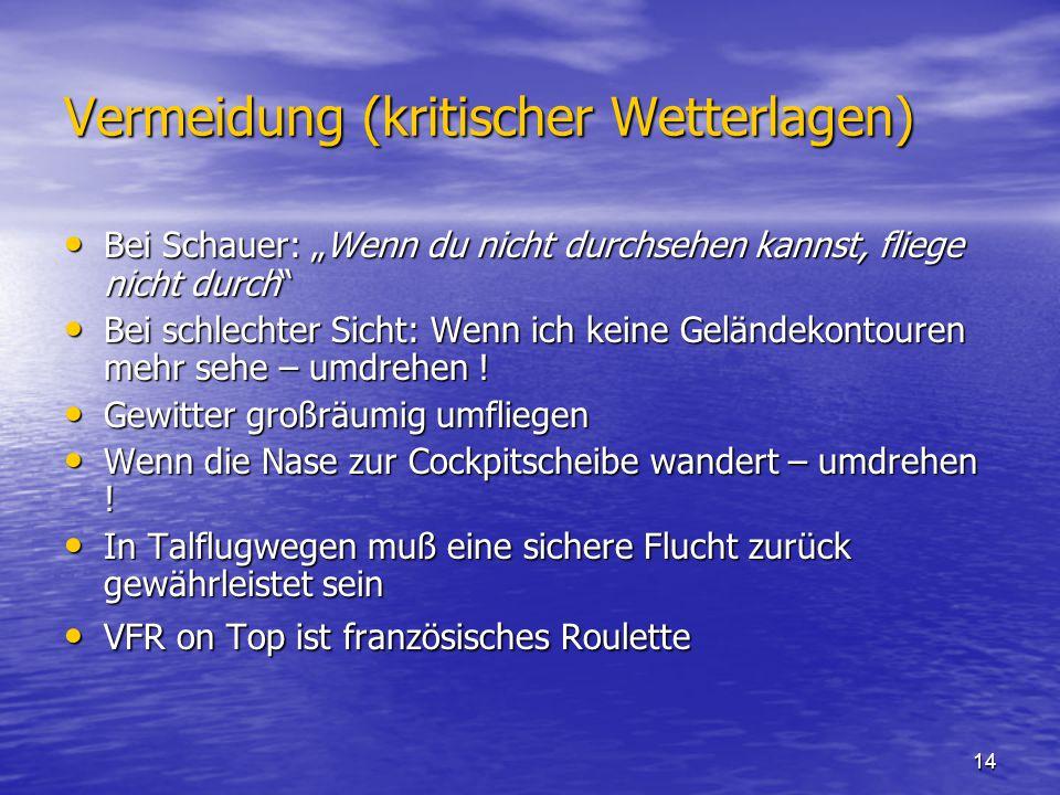 """14 Vermeidung (kritischer Wetterlagen) Bei Schauer: """"Wenn du nicht durchsehen kannst, fliege nicht durch Bei Schauer: """"Wenn du nicht durchsehen kannst, fliege nicht durch Bei schlechter Sicht: Wenn ich keine Geländekontouren mehr sehe – umdrehen ."""