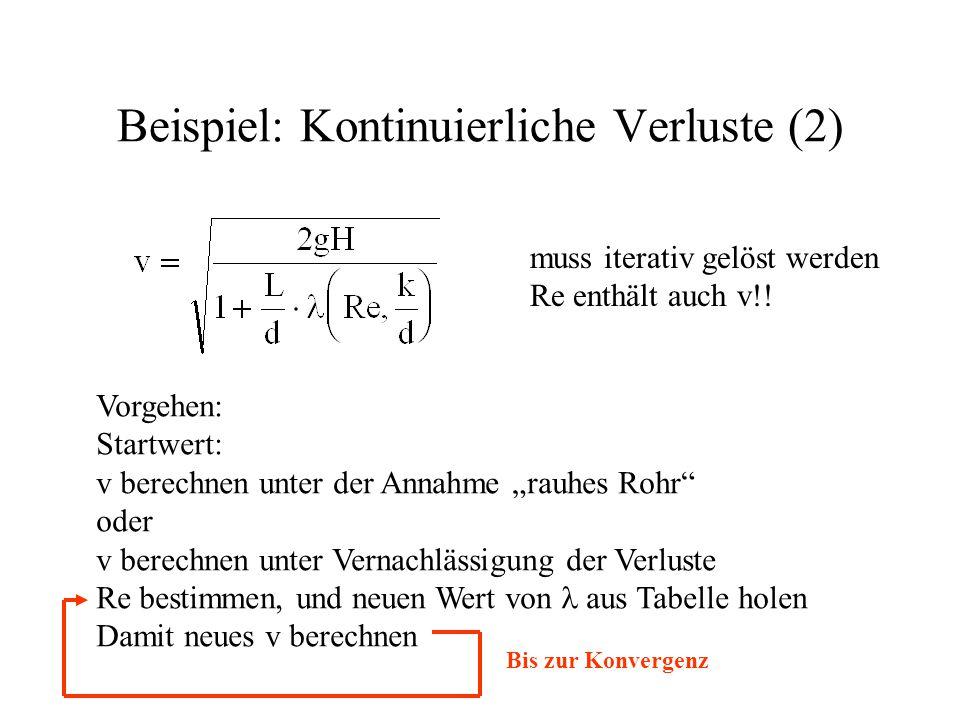 """Beispiel: Kontinuierliche Verluste (2) muss iterativ gelöst werden Re enthält auch v!! Vorgehen: Startwert: v berechnen unter der Annahme """"rauhes Rohr"""