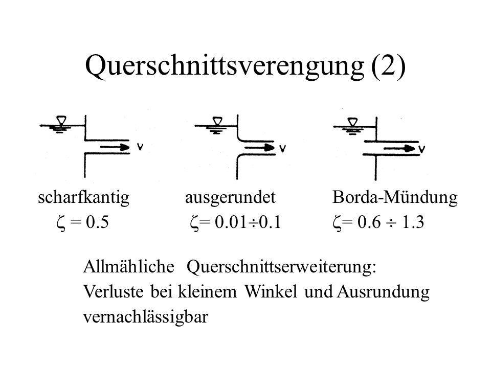 Querschnittsverengung (2) scharfkantigausgerundetBorda-Mündung  = 0.5  = 0.01  0.1  = 0.6  1.3 Allmähliche Querschnittserweiterung: Verluste bei