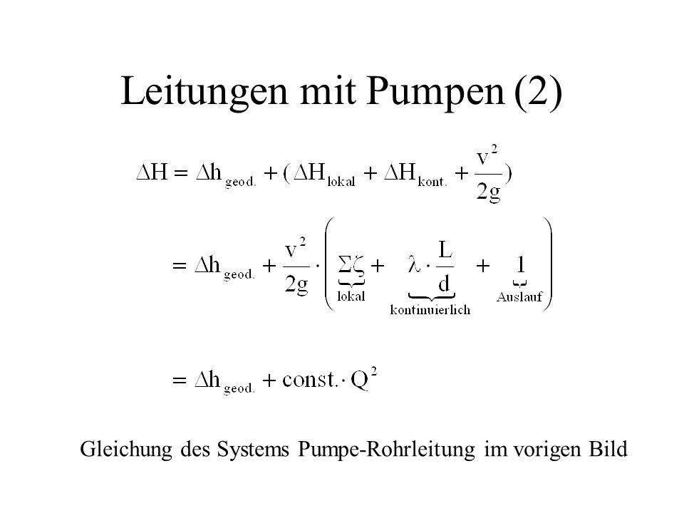 Leitungen mit Pumpen (2) Gleichung des Systems Pumpe-Rohrleitung im vorigen Bild
