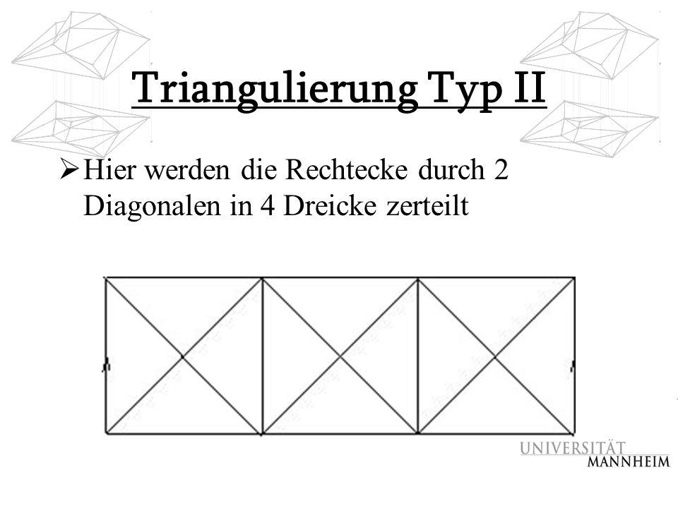 Triangulierung Typ II  Hier werden die Rechtecke durch 2 Diagonalen in 4 Dreicke zerteilt