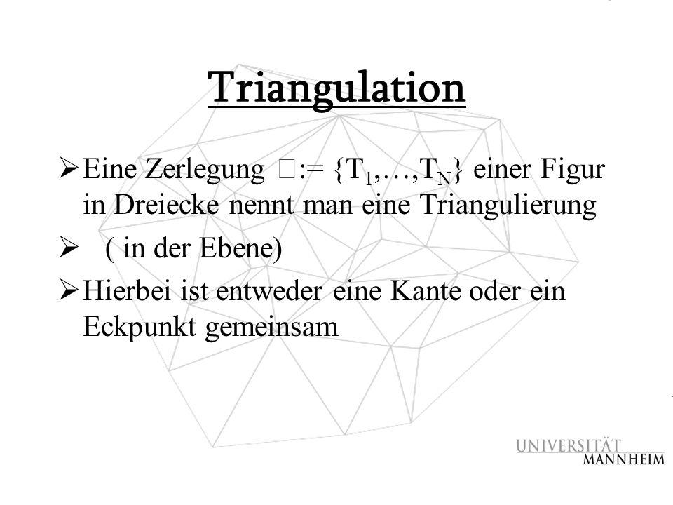 Triangulation  Eine Zerlegung := {T 1,…,T N } einer Figur in Dreiecke nennt man eine Triangulierung  ( in der Ebene)  Hierbei ist entweder eine Kan