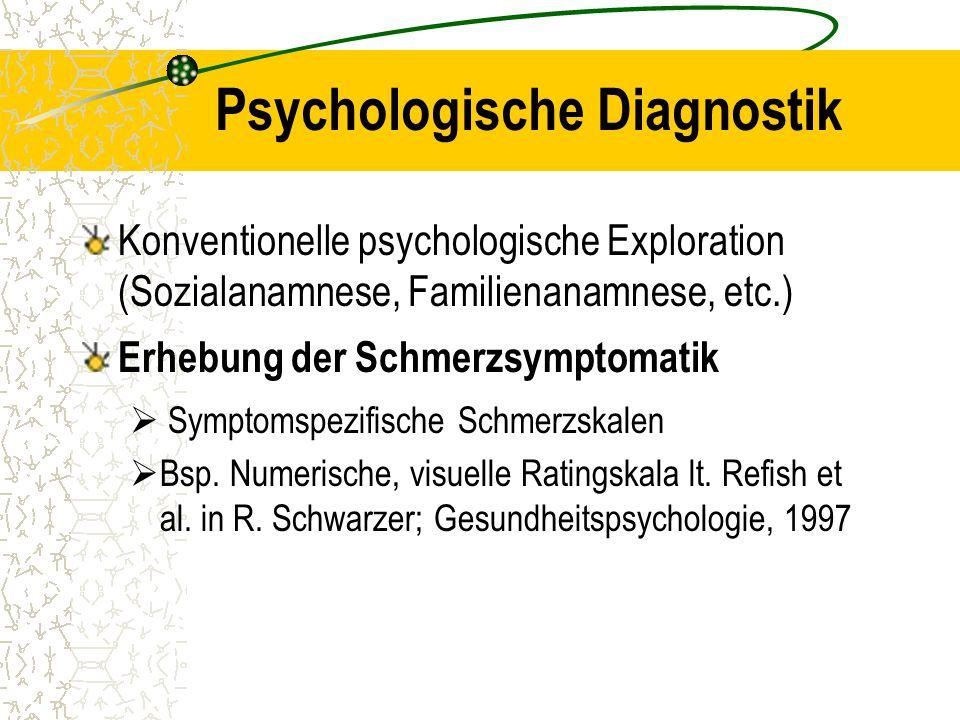 Psychologische Diagnostik Konventionelle psychologische Exploration (Sozialanamnese, Familienanamnese, etc.) Erhebung der Schmerzsymptomatik  Symptom