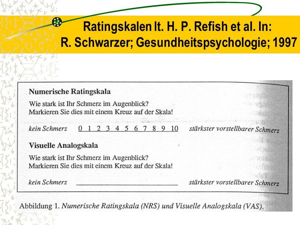 Ratingskalen lt. H. P. Refish et al. In: R. Schwarzer; Gesundheitspsychologie; 1997