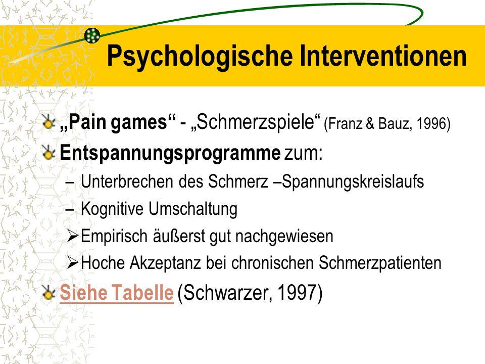 """Psychologische Interventionen """"Pain games"""" - """"Schmerzspiele"""" (Franz & Bauz, 1996) Entspannungsprogramme zum: –Unterbrechen des Schmerz –Spannungskreis"""