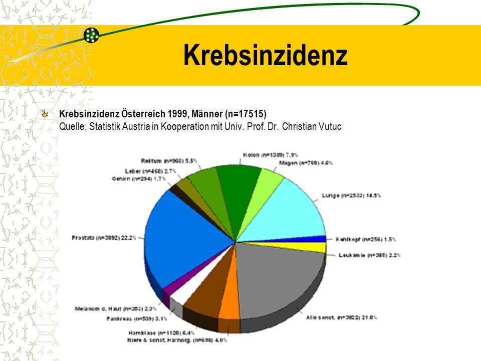 Krebsinzidenz Krebsinzidenz Österreich 1999, Männer (n=17515) Quelle: Statistik Austria in Kooperation mit Univ. Prof. Dr. Christian Vutuc