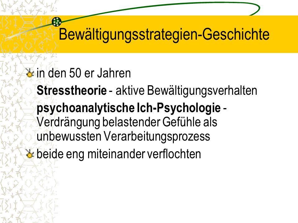 Bewältigungsstrategien-Geschichte in den 50 er Jahren Stresstheorie - aktive Bewältigungsverhalten psychoanalytische Ich-Psychologie - Verdrängung bel