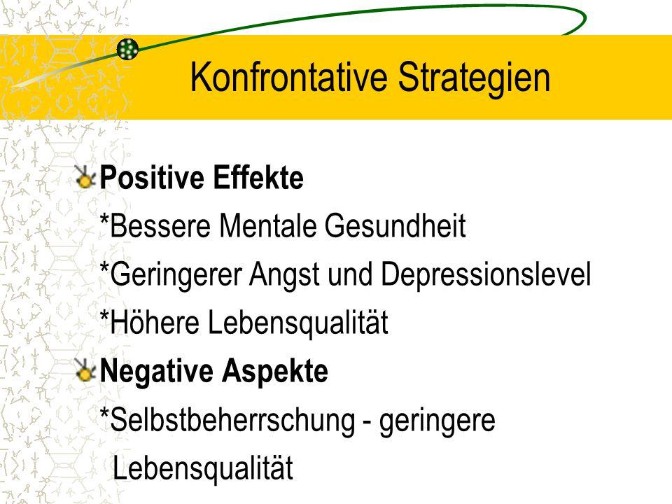 Konfrontative Strategien Positive Effekte *Bessere Mentale Gesundheit *Geringerer Angst und Depressionslevel *Höhere Lebensqualität Negative Aspekte *