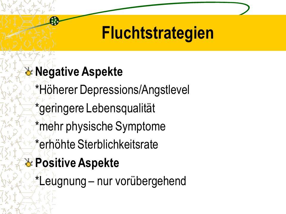 Fluchtstrategien Negative Aspekte *Höherer Depressions/Angstlevel *geringere Lebensqualität *mehr physische Symptome *erhöhte Sterblichkeitsrate Posit