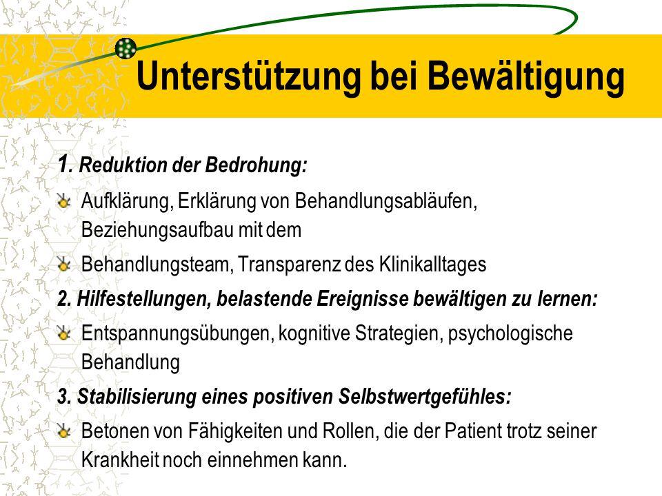 Unterstützung bei Bewältigung 1. Reduktion der Bedrohung: Aufklärung, Erklärung von Behandlungsabläufen, Beziehungsaufbau mit dem Behandlungsteam, Tra