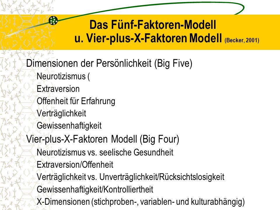 Das Fünf-Faktoren-Modell u. Vier-plus-X-Faktoren Modell (Becker, 2001) Dimensionen der Persönlichkeit (Big Five) Neurotizismus ( Extraversion Offenhei