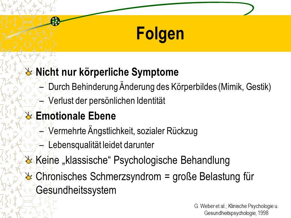 G. Weber et al.; Klinische Psychologie u. Gesundheitspsychologie, 1998 Folgen Nicht nur körperliche Symptome –Durch Behinderung Änderung des Körperbil
