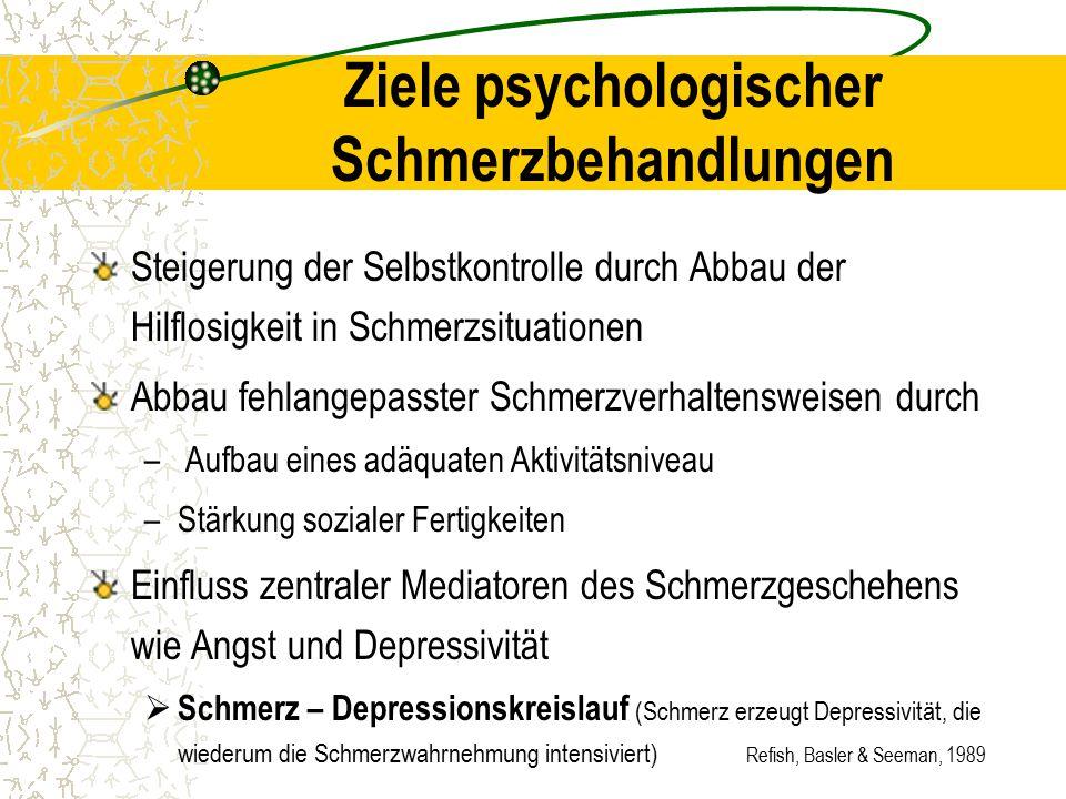 Refish, Basler & Seeman, 1989 Ziele psychologischer Schmerzbehandlungen Steigerung der Selbstkontrolle durch Abbau der Hilflosigkeit in Schmerzsituati