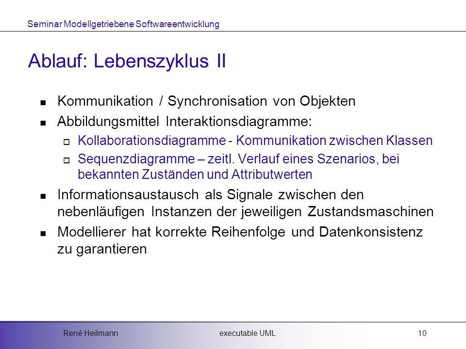 Seminar Modellgetriebene Softwareentwicklung executable UMLRené Heilmann10 Ablauf: Lebenszyklus II Kommunikation / Synchronisation von Objekten Abbildungsmittel Interaktionsdiagramme:  Kollaborationsdiagramme - Kommunikation zwischen Klassen  Sequenzdiagramme – zeitl.