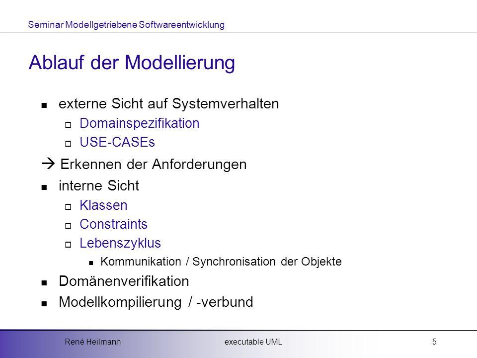 Seminar Modellgetriebene Softwareentwicklung executable UMLRené Heilmann5 Ablauf der Modellierung externe Sicht auf Systemverhalten  Domainspezifikation  USE-CASEs  Erkennen der Anforderungen interne Sicht  Klassen  Constraints  Lebenszyklus Kommunikation / Synchronisation der Objekte Domänenverifikation Modellkompilierung / -verbund
