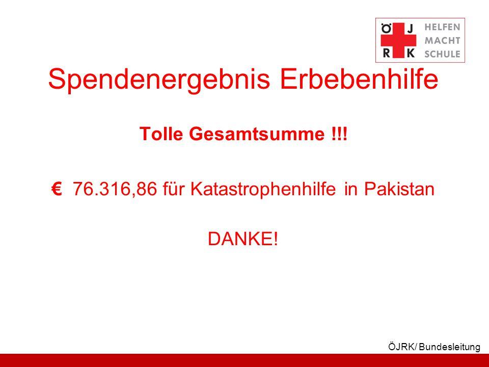 ÖJRK/ Bundesleitung Spendenergebnis Erbebenhilfe Tolle Gesamtsumme !!! € 76.316,86 für Katastrophenhilfe in Pakistan DANKE!